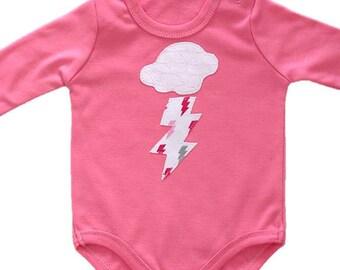 Baby Girl Onesie, Bolt Onesie, Thundercloud Onesie, Pink Bodysuit, Baby Shower Gift