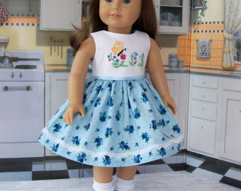 """Embroidered Spring Dress/ Doll Clothes for American Girl®  Maryellen, Kit, Melody or Other 18"""" Doll"""
