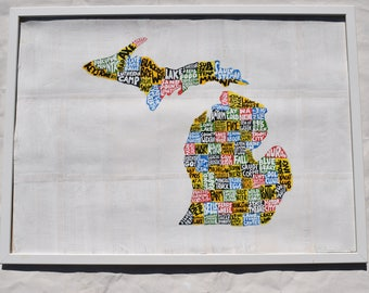 Michigan painting, Michigan map art, Michigan artwork,  Michigan gifts, Michigan home decor, Michigan wall art, Michigan state art