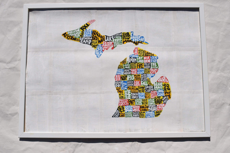 Michigan painting Michigan map art Michigan artwork