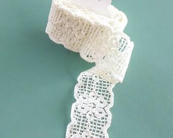 Vintage Destash Bulk Lot 2 Yards Cream Lace Trim Sewing Craft Supply Lingerie Bra Making