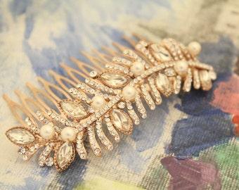 Rhinestone hair accessories,Rose gold Hair piece,Wedding hair comb,Pearl hair piece,Bridal hair accessories bohemian headpiece,Crystal comb