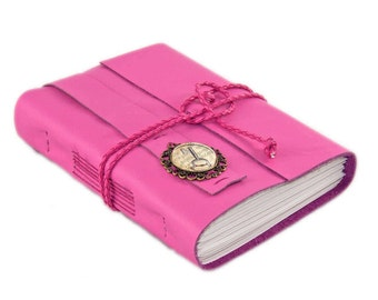 Deep Pink Leather Journal with Lined Paper and Key Cameo