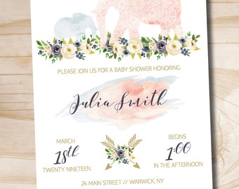 Boho Indian Watercolor Floral Arrow Baby Shower Invitation // Elephant Baby Shower Invitation // Boy - Custom PDF or Professionally Printed