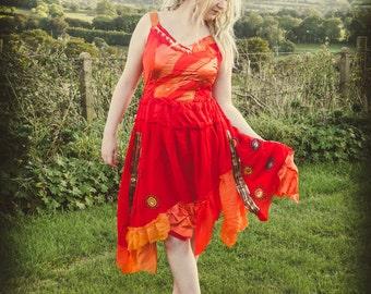 Women's fire goddess dress, red & orange adult fairy dress, festival clothing, party dress Size medium