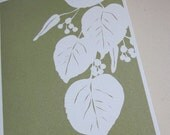 RESERVED FOR RHIANON - Linden leaf silhouette - folded blank note cards