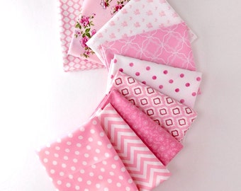 Pink Floral Bundle of 9 Fat Quarters, Pink Baby fabric 100% cotton fabric for Quilting and general sewing projects.