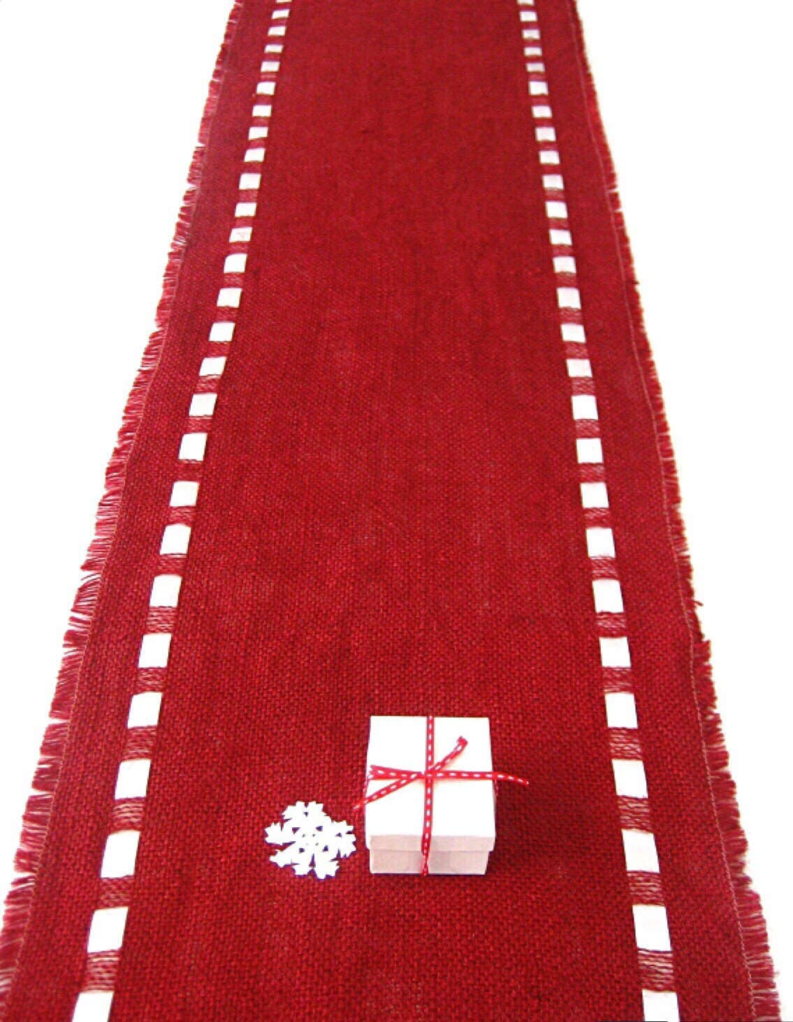 red burlap christmas table runner with satin ribbon by. Black Bedroom Furniture Sets. Home Design Ideas