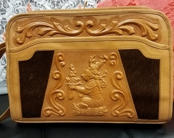Vintage Mexican Hand Tooled Leather Purse Tote Handbag Adjustable Strap 1970's NEW