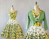 Vintage 50s Dress/ 1950s Cotton Dress/ California Cottons Yellow & Green Floral Cotton Dress w/ Matching Bolero M