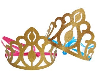 Glitter Gold Crown, Birthday Party Decorations, Princess Crown as Party Favors, Party Crown