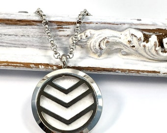 Chevron diffuser necklace -customize with birthstone