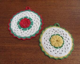 Vintage 70's Pair of Rosette Needlework Potholders - Doilies - Kitchen - Trivet - Granny Chic - Plant Pot - Home Decor - Hot Plate