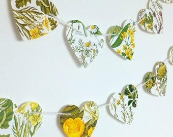 Heart garland, Yellow flowers bunting, Natural Wedding decor, Heart Bunting, Botanical Banner