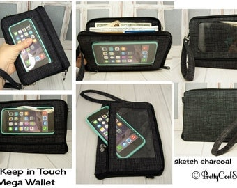 Crossbody wallet • cell phone pocket • iPhone • CUSTOM Smartphone purse • sketch charcoal • Keep in Touch MEGA Wallet • 3b