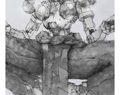 Zenyatta Giclee print of pencil drawing of Support character from the video game Overwatch