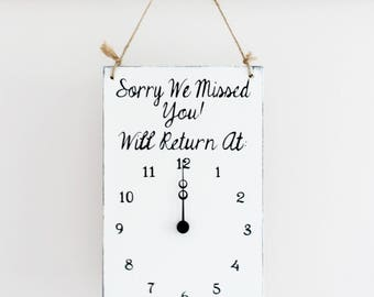 Business Sign, Will Return Clock Sign, Store Hour Sign, Clock, Custom Sign, Store Sign, Boutique Sign, Hanging Business Sign, Wood Sign