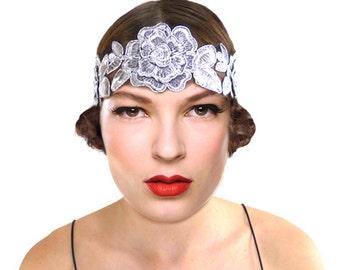 Silver Flower Flapper Headband Women Hairband Bohemian Indie Hair Accessories Gift for Her 1920s Gypsy Hippie Folk Woodland Bridesmaid