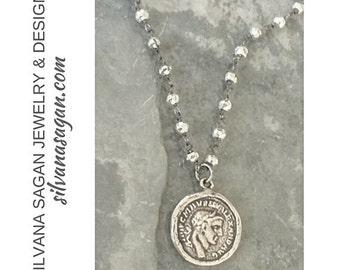 Coin Necklace, Silver Coin Necklace, Silver Coin Pendant Necklace, Coin Pendant, Silver Coin Pendant, Coin Pendant Necklace, Silver Coin