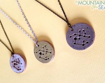 Sagittarius Constellation Necklace – Round Ceramic Pendant Necklace, Zodiac Jewelry, Constellation Jewelry