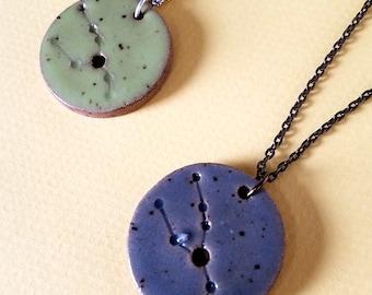 Taurus Constellation Necklace – Round Ceramic Pendant Necklace, Zodiac Jewelry, Constellation Jewelry