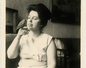 "Vintage Photo ""Feathered Friend"" Woman Lady Girl Holding Bird Finger Pose Indoor Pet Animal Candid Moment Found Old Cute Photograph - 109"