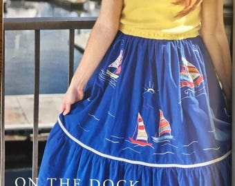 "ALTERED COUTURE FEATURED Upcycled dress ""On the Dock of the Bay"", side seam pockets, recycled, sailboat embroidery, ocean theme, eco, ooak"