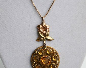 Vintage Citrine Glass Gold Filled Art Deco Era Pendant Necklace Yellow Antique Designer Victoria