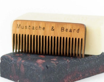 Wooden Comb - Beard Comb - Mustache Comb - Beard Care - Wood Comb - Boyfriend Gift - Handmade Comb - New Father - New Dad - Dad Gift