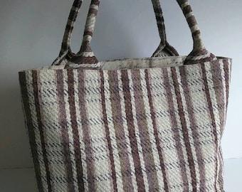 Bucket Bag; Shoulder Bag; Handbag; Plum Tweed Bag