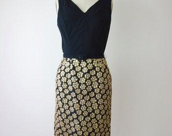 1960s Gold Lame' 2 Piece Floral Party Dress