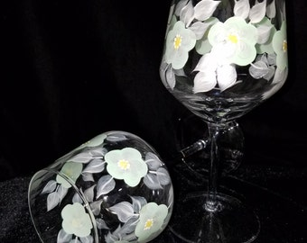 Hand Painted Wine Glasses, Mint and Pearl White Floral