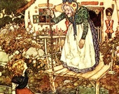 Old Woman from the Snow Queen by Edmund Dulac, Vintage 1975 8x11 Childrens Fairy Tale Book Art Print, FREE SHIPPING
