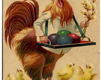 Easter Rooster Chef & Tray of Eggs Postcard, Greetings, Antique 1910 Embossed Holiday Paper Ephemera, FREE SHIPPING