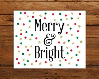 Merry and Bright Christmas Printable, Christmas Song INSTANT DOWNLOAD Wall Art, Red and Green Polka Dot Christmas Decor with Gold Stars