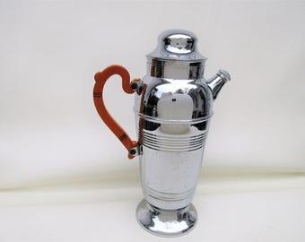 Vintage Cocktail Shaker | Art Deco Drink Pitcher | Martini Shaker | Chrome Beverage Server | Butterscotch Bakelite – As Is