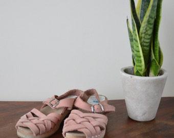 Girls Vintage Wooden Clog  Sandals Leather Summer Strap Shoes