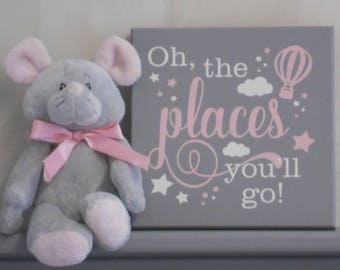 Oh the Places You'll Go | Light Pink and Gray | Girl Nursery Wall Art | Hot Air Balloon | Inspirational Adventure | Kids Wall Decor Gift
