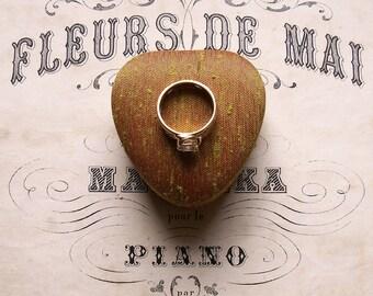 Vintage Heart Shaped Gold Silk Ring Box -  Engagement Ring Box - Vintage Wedding
