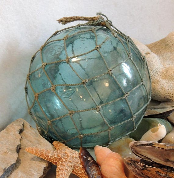 Vintage 15.5 Inch In Circumference Japanese GLASS FISHING FLOAT With Full Net (#62)