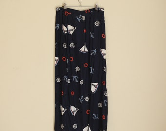 Navy Sailor Wrap Maxi Skirt. Red YWhite