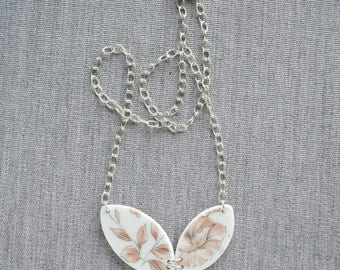 Peachy Rose Necklace Broken Recycled China Jewelry Material and Movement