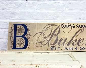 Personalized Family Name Sign - Family Established Date Sign - Wood Sign Wall Art - Anniversary Gift - Last Name Wedding Date Sign