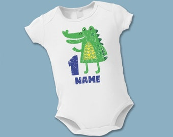 1st Alligator Birthday Shirt - Personalized Birthday Shirt - Baby's 1st Birthday - Jungle Zoo Birthday Party - Choose your number - Preppy
