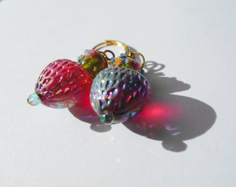Strawberry Earrings West Germany Vintage Glass