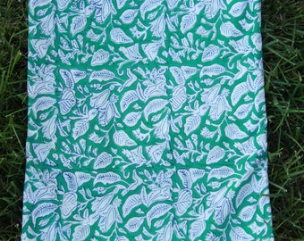 """Green, White Floral Hand Block Print 100% Cotton Fabric, 1 yard x 44"""", Traditional Border Printed, Fashion Supply, Sewing, Craft Supplies"""