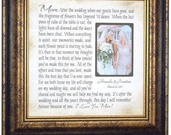 Mother of the Bride Gift, Wedding Photo Frame, Mom Dad Wedding Gift, love wedding cake toppers decoration, Parents Wedding Gift, 16 X 16