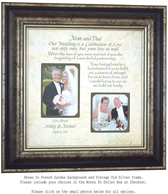Personalized Bridal Shower Gift Thank You Parents Wedding Gift for Mom Frame Sign Bride Groom Mother Father, CELEBRATION OF LOVE 16 X 16