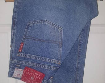 ShamRock ... vintage 90s Lucky Brand jeans dungarees / high rise waist waisted  / skinny taper tapered ankle ..  waist 29 12/31