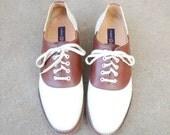 Vintage Mens 11.5 Tommy Hilfiger Lace Up Two Tone Saddle Shoes Derby Oxfords Brogues Boat Deck Shoes Classic Wedding Suit Dress Shoe Hipster